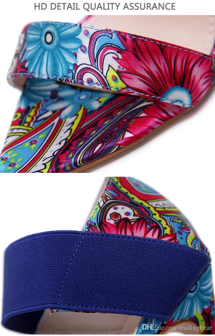 Más el tamaño de 35 a 40 41 42 colores mezclados Patchwork Phoenix impresos de diseño de los altos talones de Verano Azul Naranja