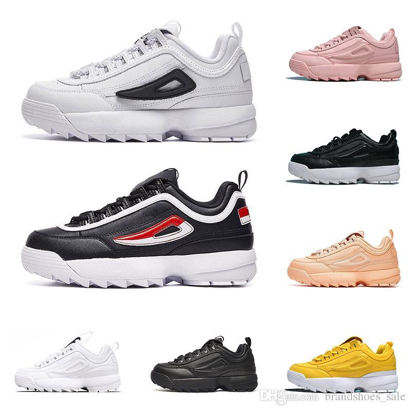 7fb135e649011 Acheter 2019 Fila Chaussures Design Baskets De Luxe Pour Hommes Femmes  Triple Blanc Noir Rose En Cuir Plateforme Hauteur De Chaussure Décontractée  ...