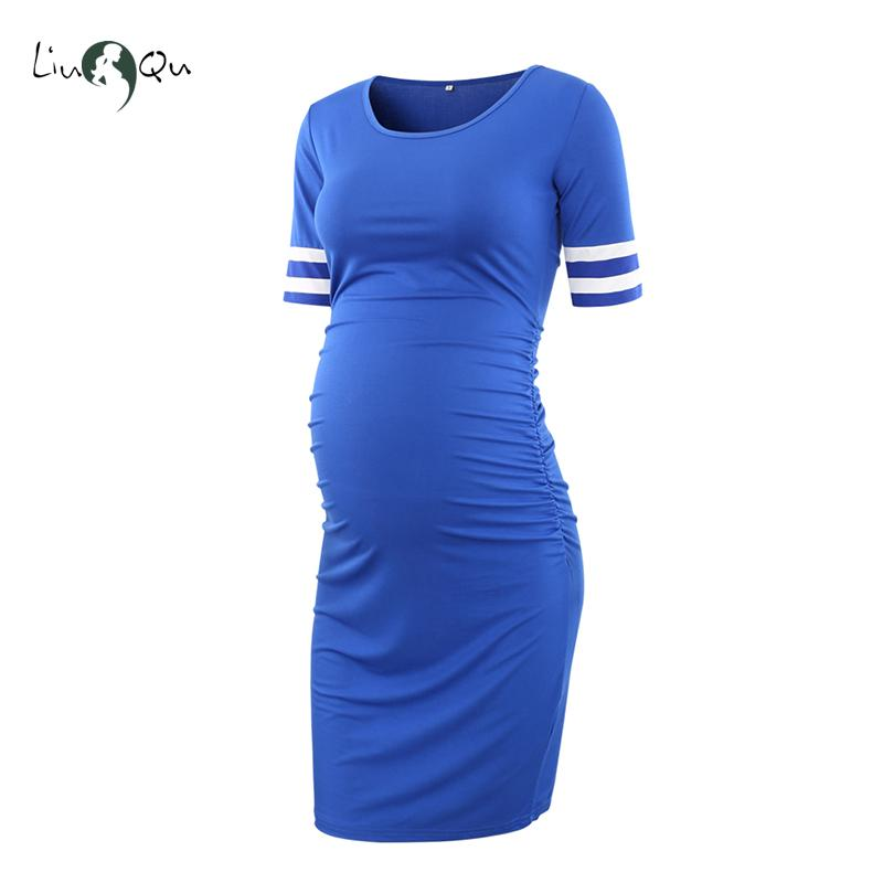 Womens Nursing Dress Sports Leisure Short Sleeve Striped Splice Maternity Dresses Pregnant Clothes Knee Length Pregnancy Dress