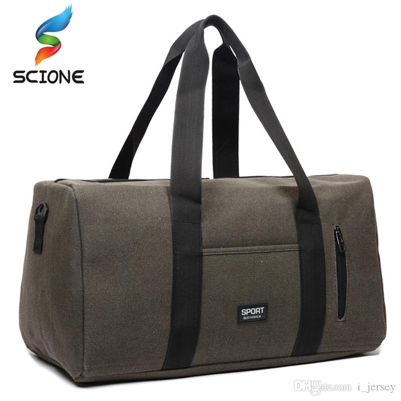 f3f4cffb79 2019 Hot Outdoor Top Canvas Sport Training Gym Bags Men Woman Fitness Bag  Durable Multifunction Travel Handbag Sporting Tote For Male  86736 From  I jersey