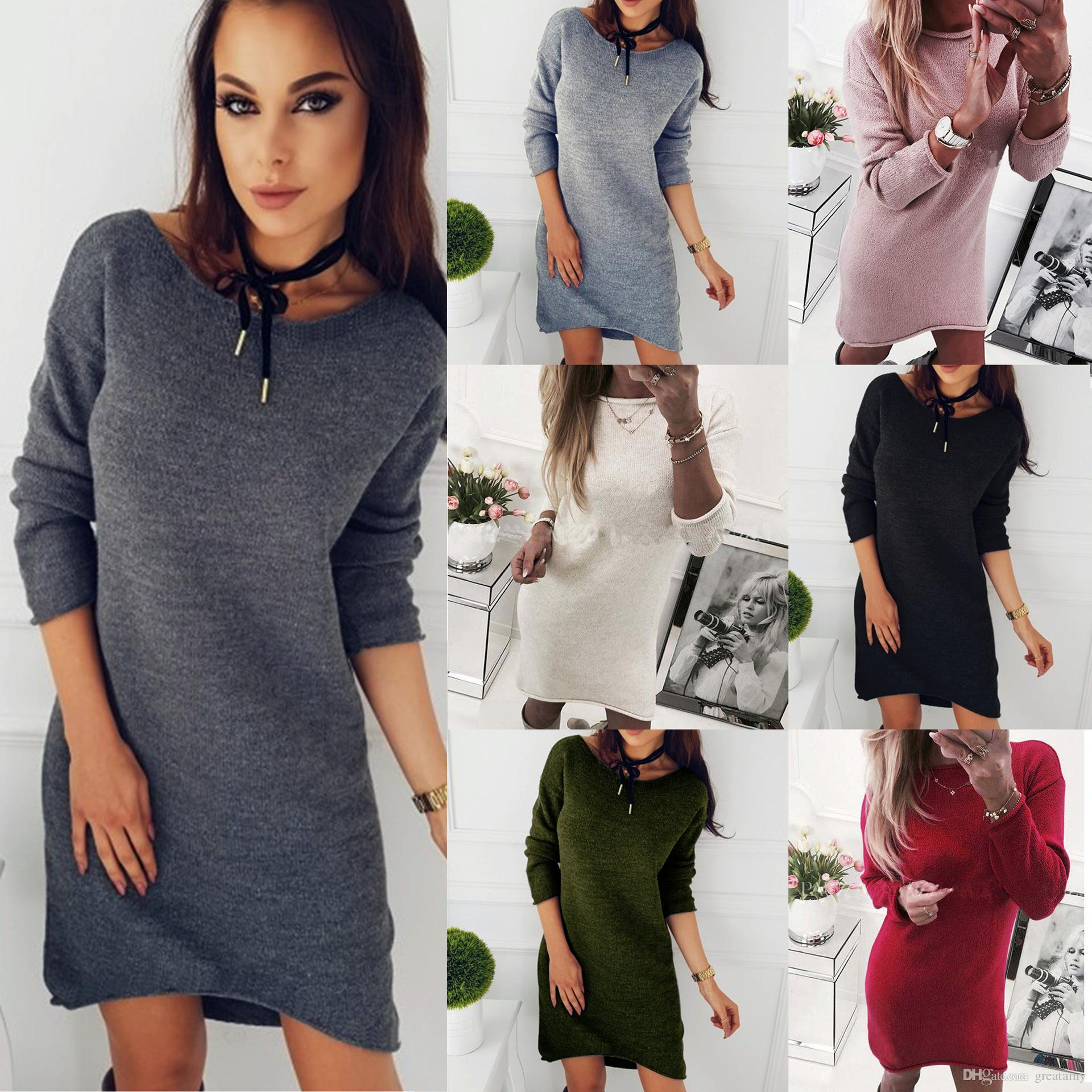 ef25c1b8d7 2019 Women Sexy Long Sleeve Crew Neck Solid Color Cold Knitted Casual Midi  Dress Sweater Winter Maxi Dress From Greatamy
