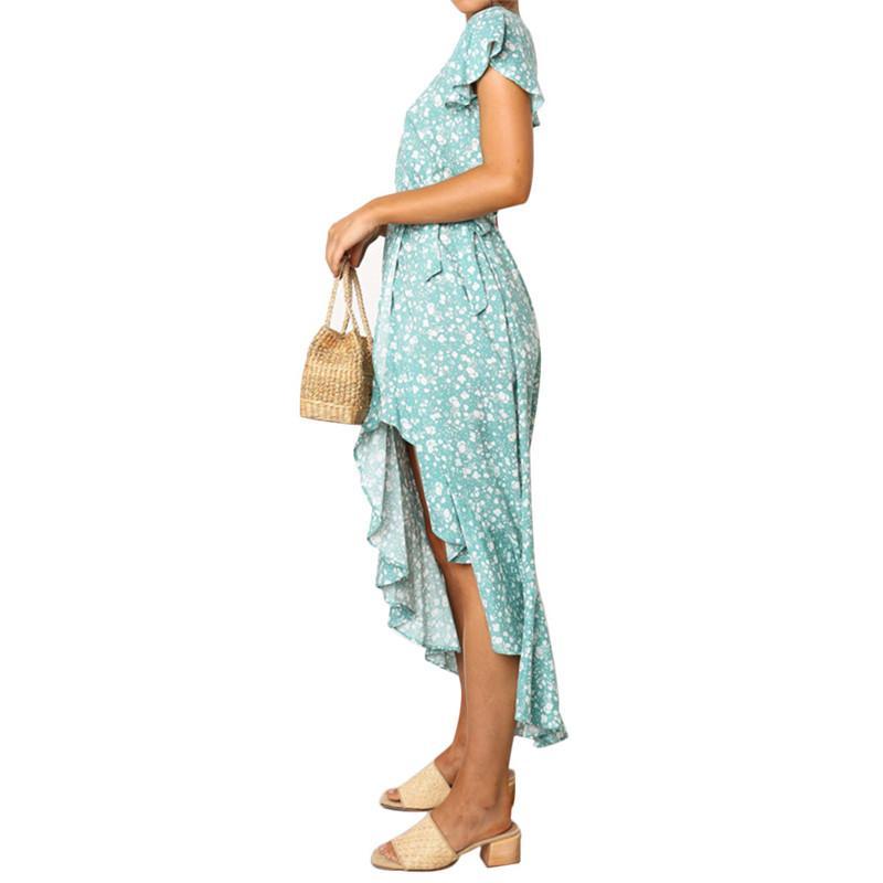 Floral Summer Women Boho Holiday Beach Dress Sexy Deep V Neck Bandage Sashes Short sleeve Chiffon Elegant Mini Sundress Outfits