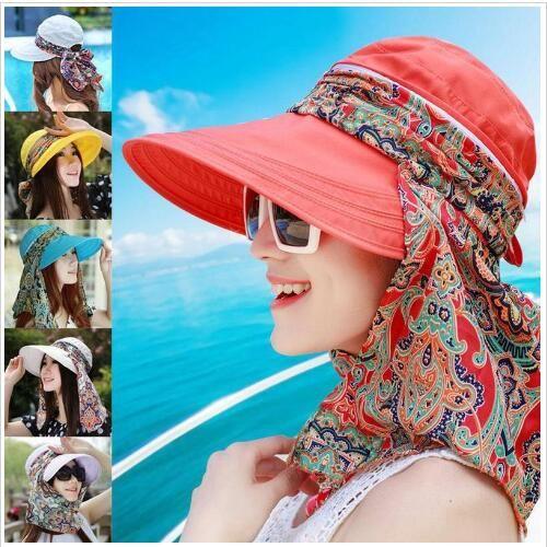 7a6d0a9b84be2 Wide Brim Hats Floral Print Floppy Caps Sunscreen Ponytail Hats Summer  Outdoor Visor Cap Women Riding Anti UV Beach Sun Hat Foldable B5101 Ladies  Hats ...