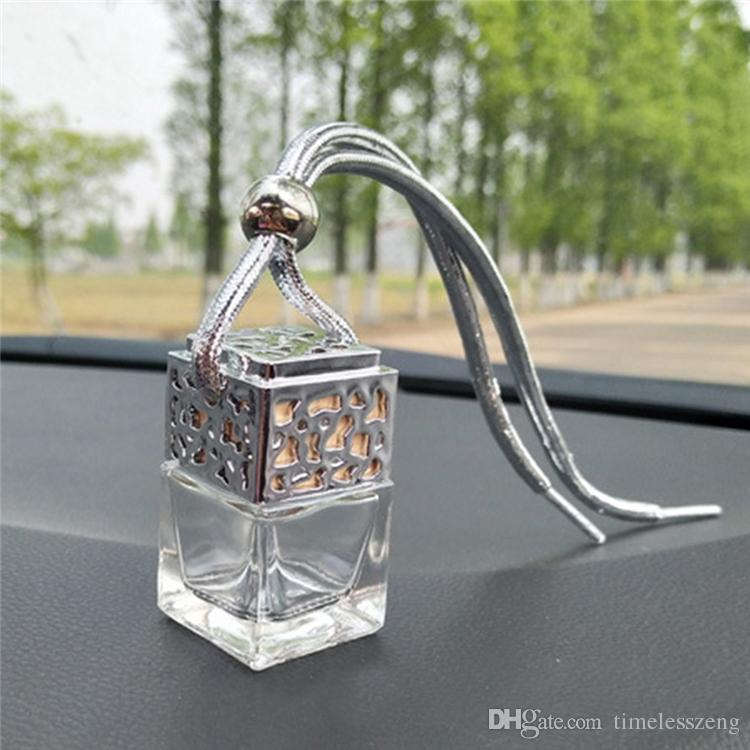 Cubo de Perfume para Coche Colgante Hueco Espejo Retrovisor Ambientador de Aire Para Aceites Esenciales Difusor Fragancia Botella de Cristal Vacía Colgante