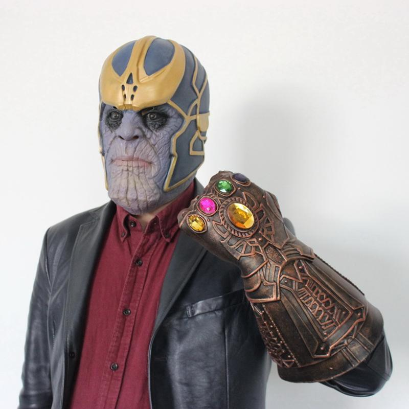 Marvel Thanos Tyrants Mask Latex Halloween Decor Infinity Gauntlet Avengers Gloves Infinity War Unlimited Gloves Helmet Cosplay Toys