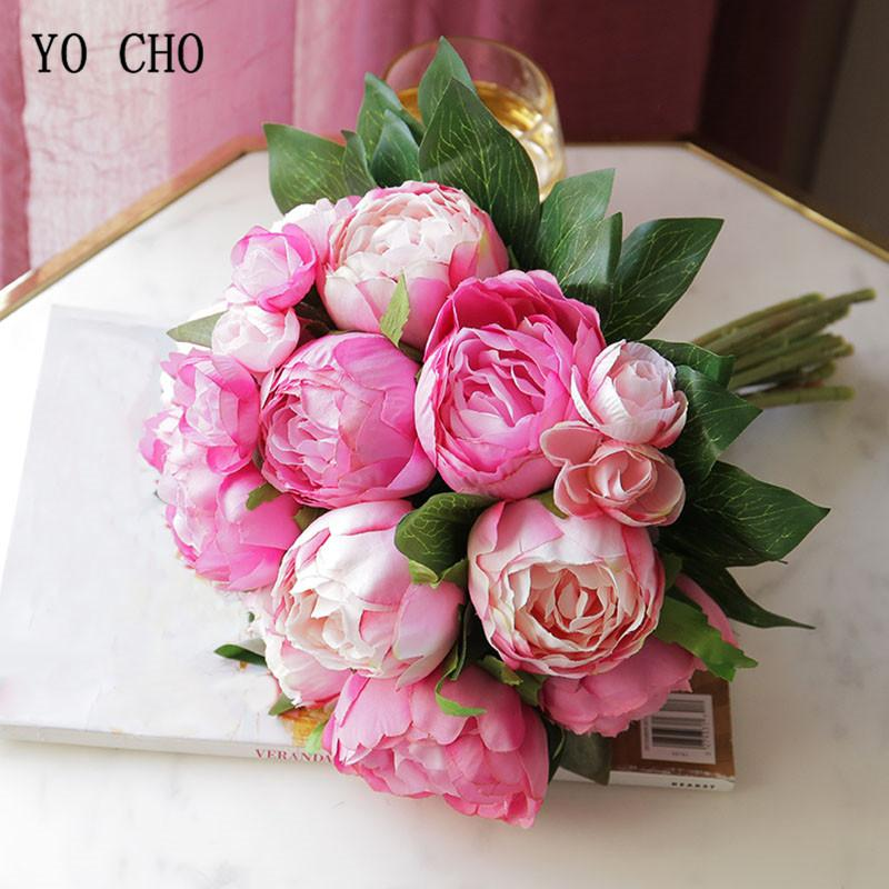 YO CHO 10 Heads Silk Artificial Peony Flower Pink Rose Bride White Big Peony Hand Bouquets Wedding Home Party Decor Fake Flowers