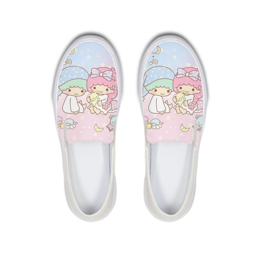 06f60ca4c916 Cartoon Little Twin Stars Kiki Lala Cusual Women Canvas Shoes Girls Slip On Flats  Loafers Platform Shoes Ladies Sneakers Femme Platform Shoes Hiking Shoes ...