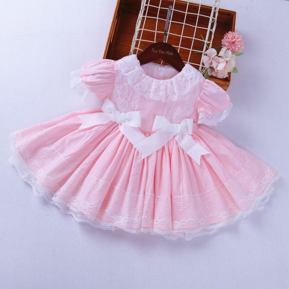 70a0b6b7917 2019 Baby Vintage Dress Pink Ruffles Lace Baby Frock Party Kids Dresses For Girls  Clothing Birthday Cotton Children Wedding From Vanilla14