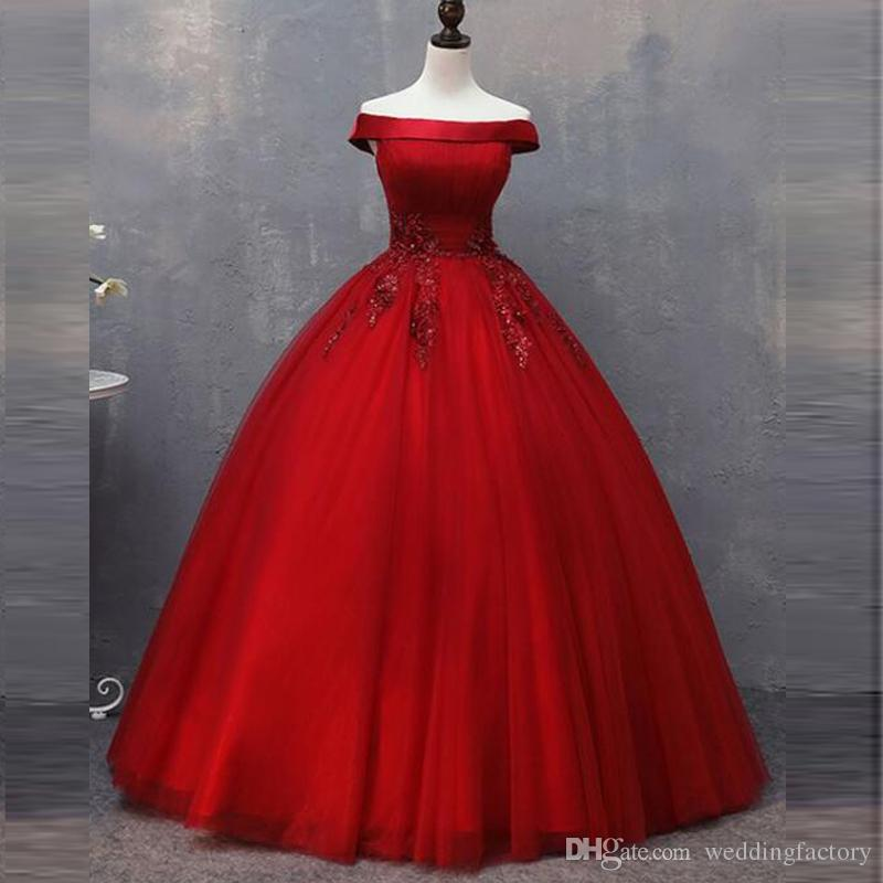 351342c05 Red Tulle Ball Gown Wedding Dresses Off The Shoulder Beaded Lace Appliques  Floor Length Simple Gorgeous Bridal Gowns Made In China Pretty Dresses Tea  Length ...