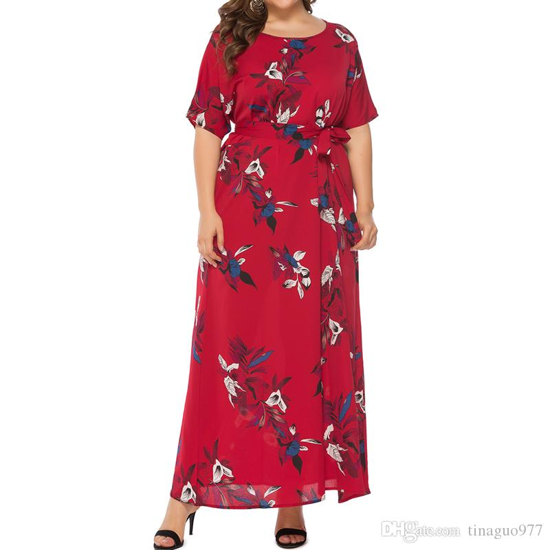 12c23a32c6a4 Floral Print Plus Size Maxi Dresses With Sashes Half Sleeve Casual Big Size  Dresses Women XL 5XL Dress C Black Dresses On Sale From Tinaguo977, ...