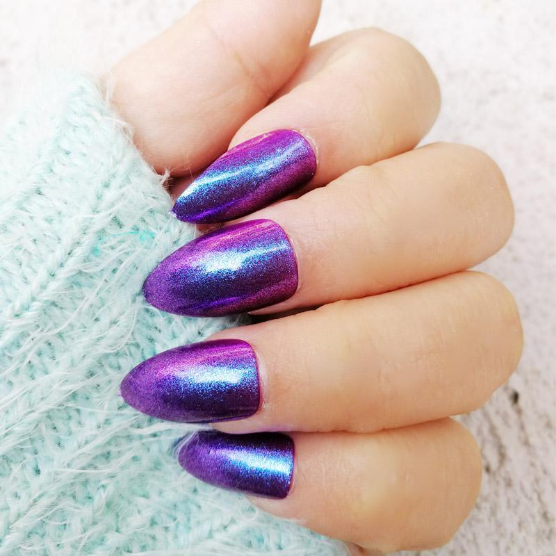 2 Box Artificial Nail Tips Stiletto Shape Purple Glitter Press On