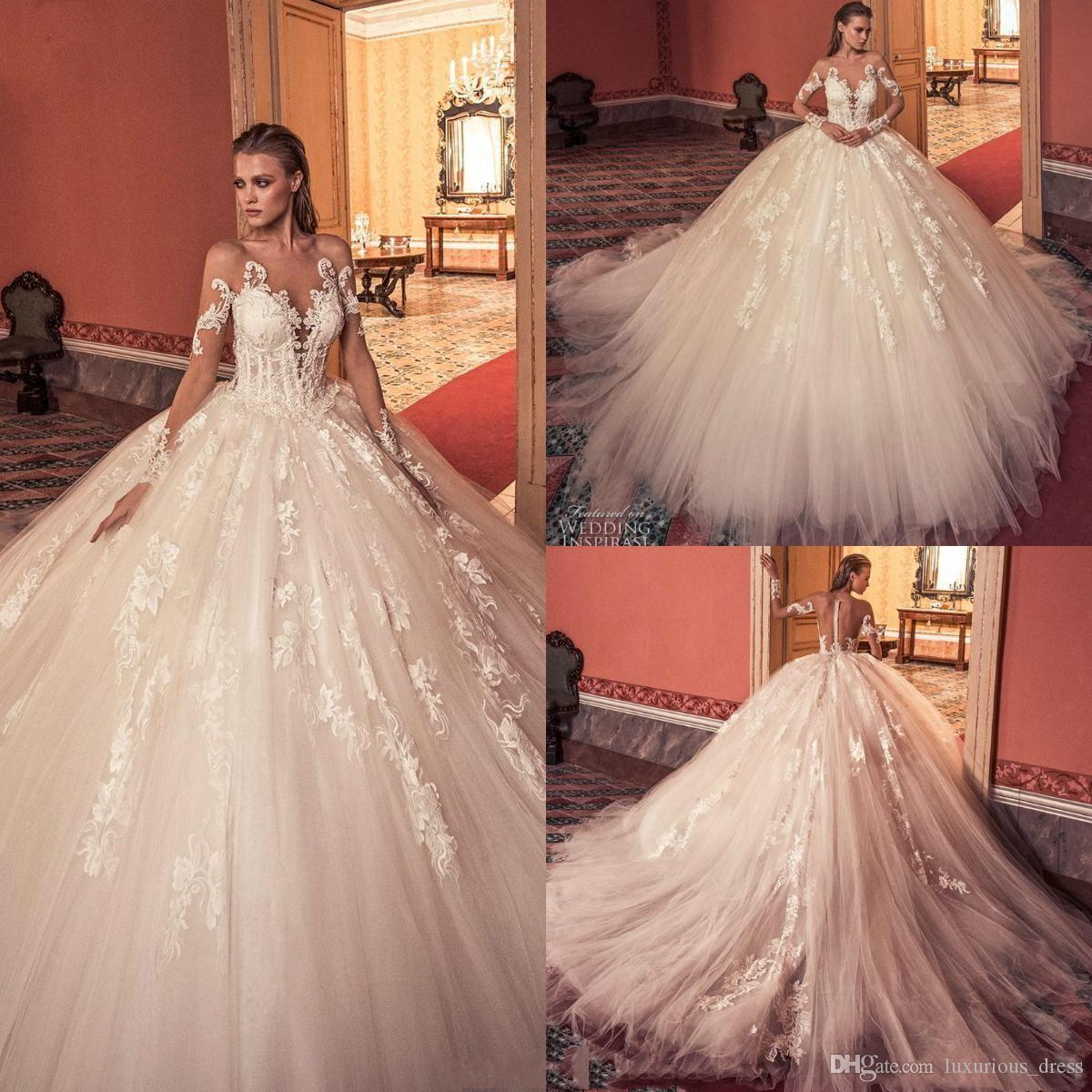 99d4f57a63f9 Discount 2019 Romantic Arabic A Line Wedding Dresses Off Shoulder Lace  Appliques Tulle Sheer Neck Long Sleeves Chapel Train Formal Bridal Gowns  2K19 Plus .