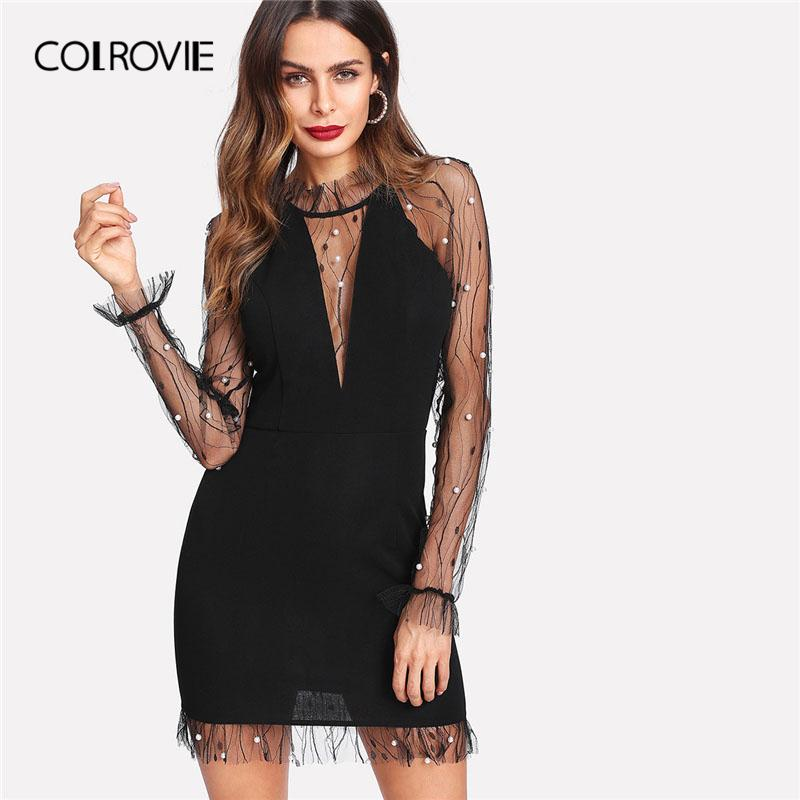 Colrovie Black Pearl Beading Vine Mesh Panel Dress Women Ruffle Round Neck Long Sleeve Sexy Dress Party Bodycon Dress Q190401