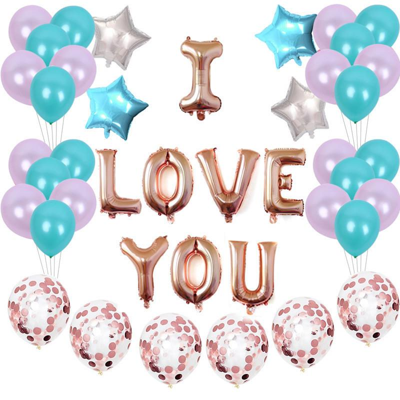 Valentines Day I Love U Air Balloon Happy Birthday Party House DIY Decor Foil Confetti Balloons Wedding Festival Supply Delivery