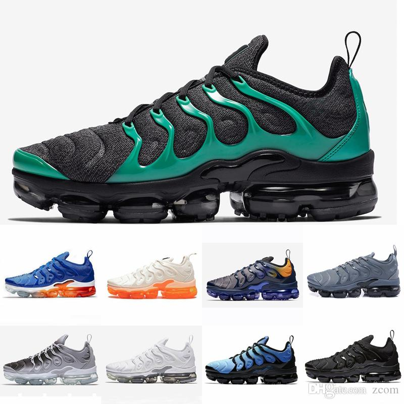 f810bed2bc9 Designer 2019 Tn Plus Running Shoes Women Mens Sneakers PURE PLATINUM  Triple Black White Cool Wolf Grey Chaussures Tns Schuhe Trainers Sports Shoes  For Men ...