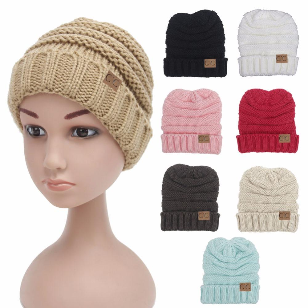 Winter Beanie Womens Beanie Women Winter Knitted Wool Cap CC Beanies ... 4471466205ad
