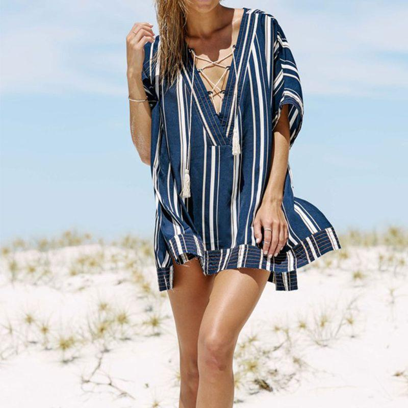 7c86a48417fe4 Women Vacation Stripes Printed Swimsuit Cover Up Plunging V Neck Cross  Tassels Drawstring Beach Mini Dress Side Split Tunic Tops Long Sleeve  Casual Dresses ...