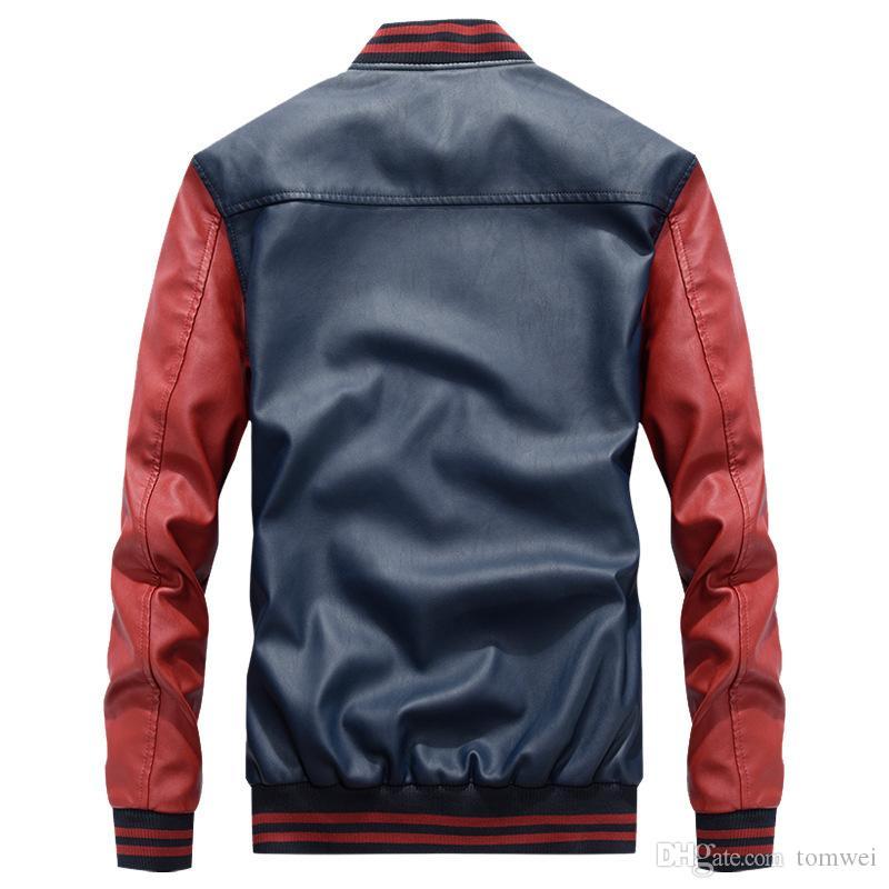 hommes faux cuir manteaux moto biker veste hip hop vestes étudiants universitaires manteau chaud survêtement automne hiver vêtements 2019