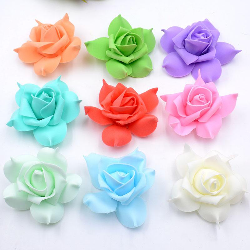 New Design 100pcs Foam Pentagon Rose Artificial Flower Head Wedding Decoration Diy Wreath Gift Box Scrapbooking Craft Fake Flower