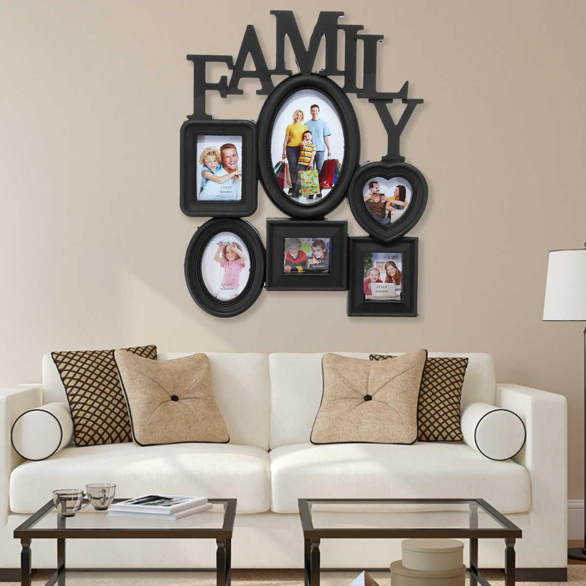 Fantastic Family Photo Frame Wall Hanging 6 Multi Sized Pictures Holder Display Home Decor Gift Black 30X37Cm Back Side With Pull Tabs C19041701 Download Free Architecture Designs Scobabritishbridgeorg
