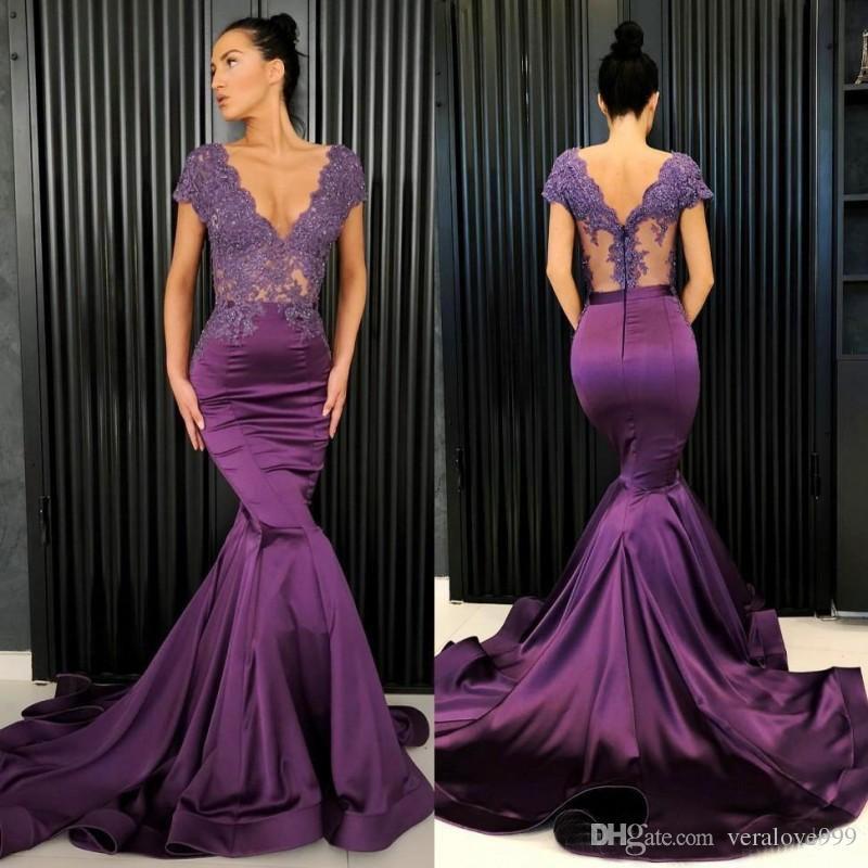 d29a59d866b7 Uva púrpura Vestidos de baile Vestidos de noche de encaje y escote en V  Sexy Sirena de satén Ver a través de la tapa superior de la manga vestido  ...