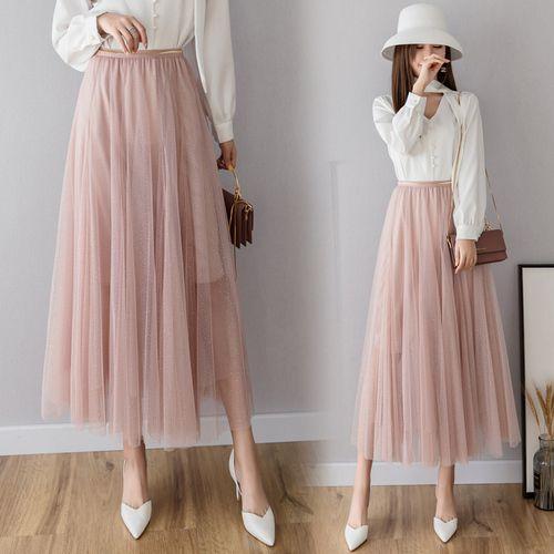 20011b2ab TingYiLi Falda de tul Larga Negro Rosa Beige Gris Falda Coreana Primavera  Verano Faldas Largas Para Mujer