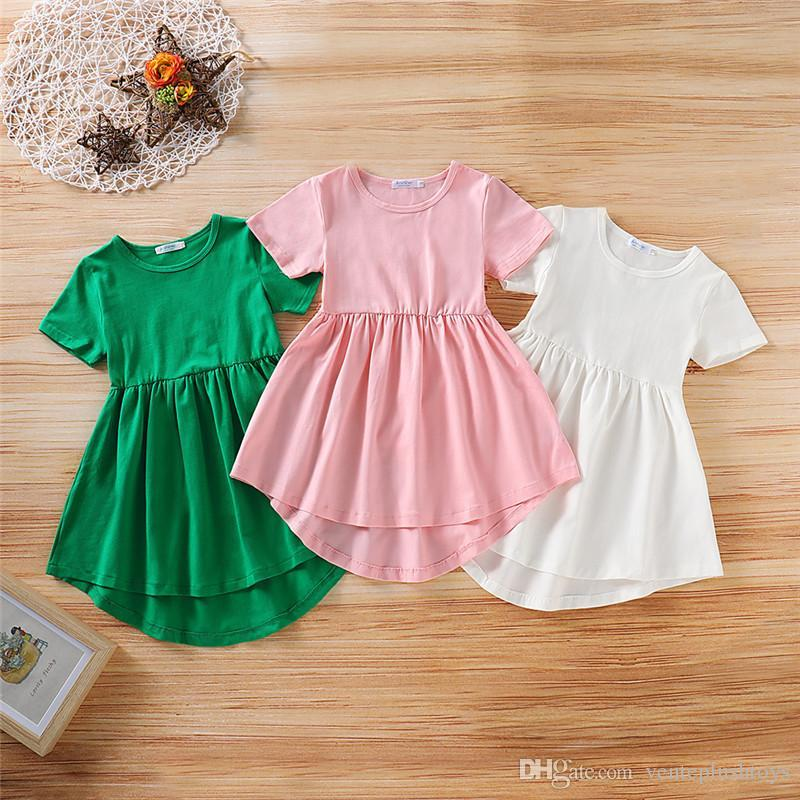 Baby Girl Dress For Kid Baptism Christening Wedding Birthday Party Holiday Gown Solid Color Summer Cotton Girls Dresses Clothes