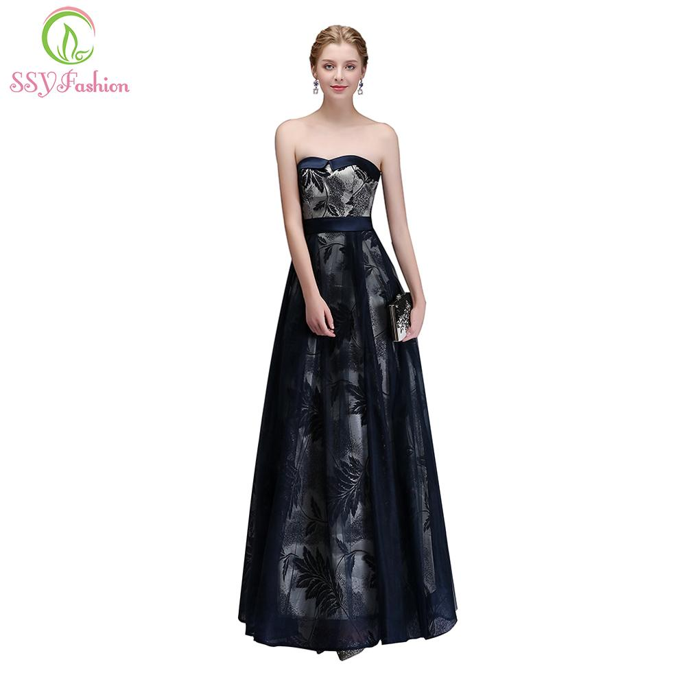 2019 SSYFashion 2017 New Banquet Elegant Evening Dress Bride Strapless Sleeveless  Lace Flower Floor Length Prom Party Gowns Custom D19011501 From Tai002 7b245898435f