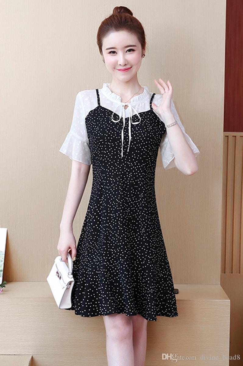 f778a42e4e 2019 Summer New Women'S Clothing For The Micro Fat Girl'S Clothes Large  Size Cover Belly Fake Two Pieces Chiffon Dress Casual Cocktail Dresses  Womens Sun ...