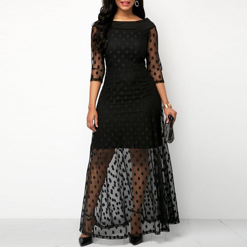 Women Evening Party Date Retro Gothic Black Polka Dot Maxi Dress Office  Lady Work See Through Mesh Extra Long Bodycon Dresses C19041501