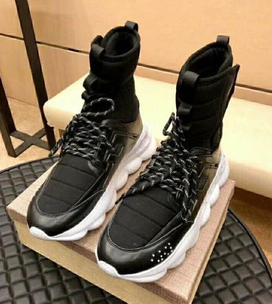 Mens Casual Shoes High Top Black Chain Reaction Sneaker Boots Medusa