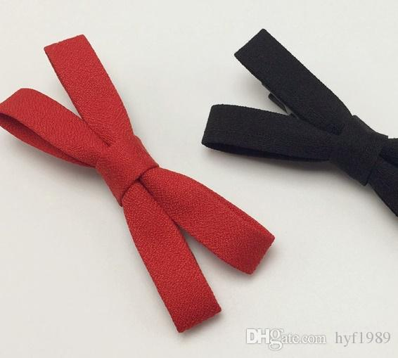 Original Korea Hair Adorn Article is Contracted Black Bright Red Cloth Art Bowknot Edge Clip Bang Clip Top Horsetail Hairpin