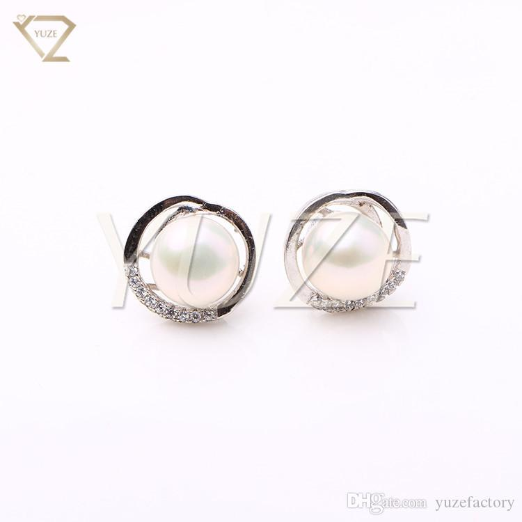 c4c1a1be1c93 Compre Venta CalienteLuxury Round Shell Pearl Silver Engagement 8 9mm Perla  Blanca Stud Pendientes Para Las Mujeres Para La Fiesta