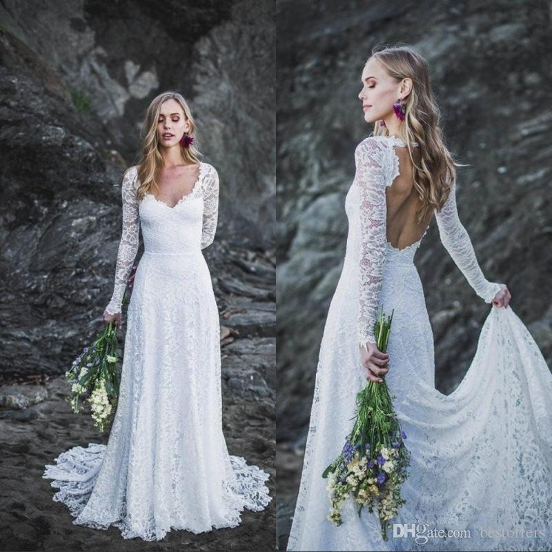 Discount Simple Lace Long Sleeves Beach Wedding Dresses