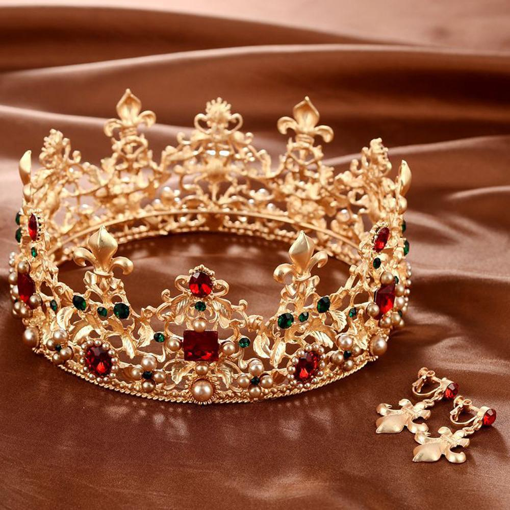 Baroque Retro Luxury Pearl Crystal Gold Crown Bridal Wedding Jewelry Rhinestone Tiaras Crowns Pageant Dress Hair Accessories T190620
