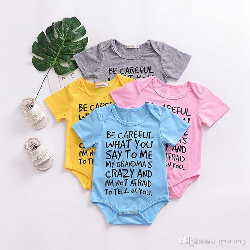 Newborn baby boy girl romper letter print short sleeve bodysuit clothes outfits boutique kids climbing children clothing