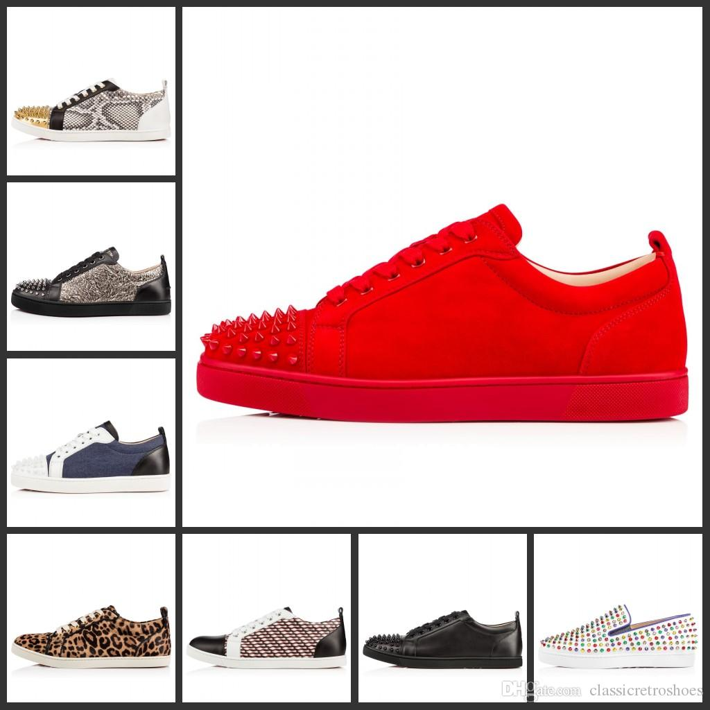 28c5366dd1 2019 New Designer Sneakers Low Cut Spikes Flats Shoes Red Bottom For Men  And Women Leather Sneakers Party Designer Shoes Designer Shoes Red Bottom  Shoes ...