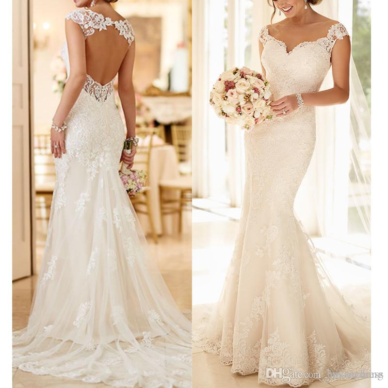 f1ba18cbc5 2019 Sexy Sweetheart Backless Mermaid Wedding Dresses Appliques Sleeveless  Bridal Gowns Cap Sleeve Beach Satin Wedding Dresses Cheap Cheap Bridal  Dresses ...