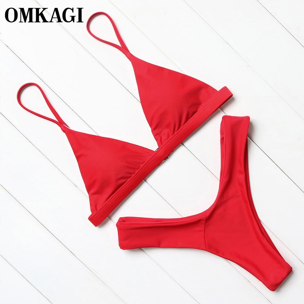 0d14b58ab Compre 2019 OMKAGI Marca Traje De Baño Mujer Traje De Baño Sexy Push Up  Micro Bikinis Conjunto Natación Traje De Baño Ropa De Playa Verano Bikini  Brasileño ...