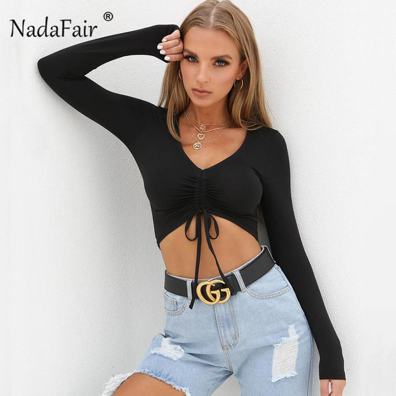 98f36f7ef6a78 Nadafair Sexy Deep V Neck Crop Tops Women 2019 Spring Long Sleeve Tee Shirt  Femme Draped Lace Up Slim Solid Casual T Shirt D19011603 Design Own T Shirt  T ...