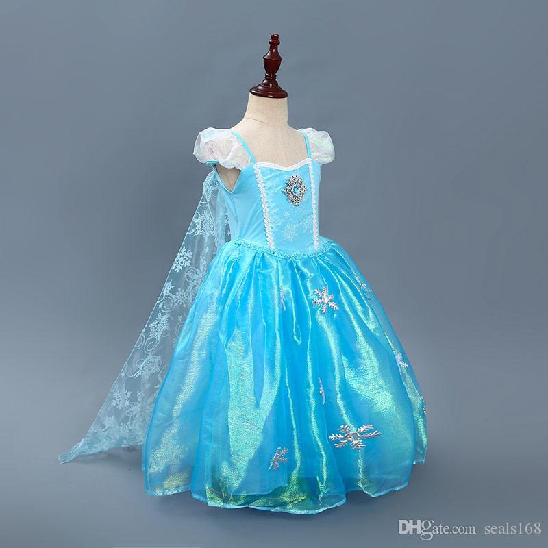 28a7e4f91 Disfraces de Halloween para niños vestidos de princesa Cosplay de Navidad  para el copo de nieve exclusivo vestido largo del cabo del cordón para los  ...