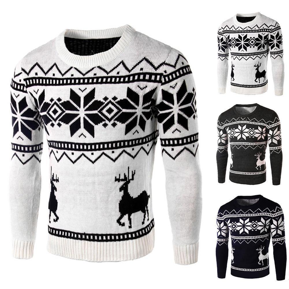 7f87077b6f06a1 2019 Winter Men Christmas Deer Snowflake Print Long Sleeve Sweater Slim Fit  Jumper From Clothfirst