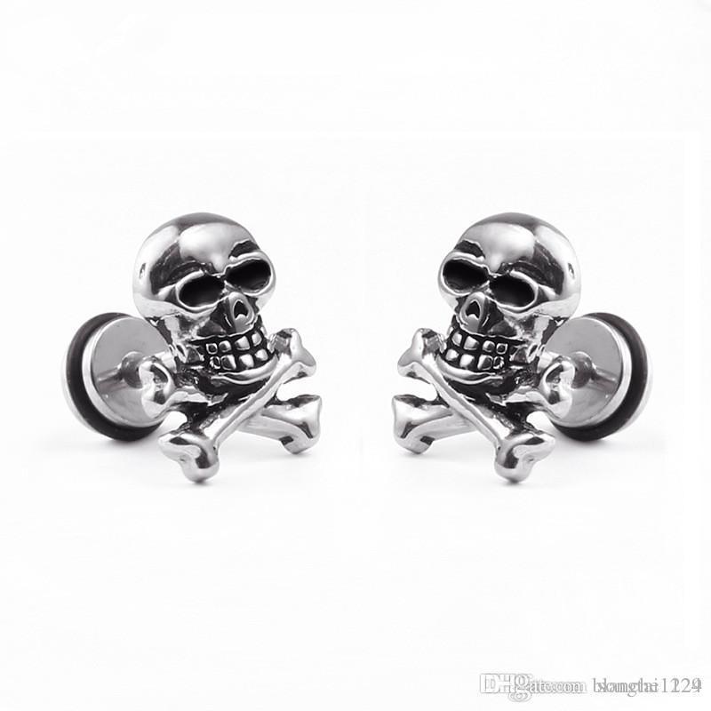 0c069a15e Titanium Steel Skull Punk Hip-hop Rock Dumbbell Earring Studs for ...