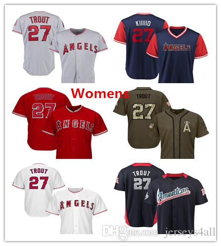 hot sale online a4533 246f8 Womens Los Angeles Angels Baseball Jerseys 27 Mike Trout Jersey Red White  Gray Grey Green Salute Players Weekend All Star Team Logo