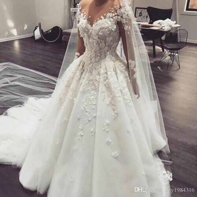 583f0ae4e83 Vintage Ball Gown Wedding Dresses Off Shoulder Lace Appliques Illusion Long  Sleeves Bridal Gowns Sweep Train Tulle Wedding Dresses Fashion Mermaids  Wedding ...
