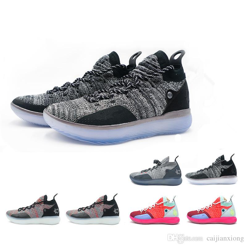KD 11 11s Basketball Shoes for Mens Oreo White Gold Ice Blue Knitting  Basketball Trainers Zoom Chushion Sneakers Cheap Men Shoe Mens Shoes Basket  Ball Shoes ... 07dc009ea