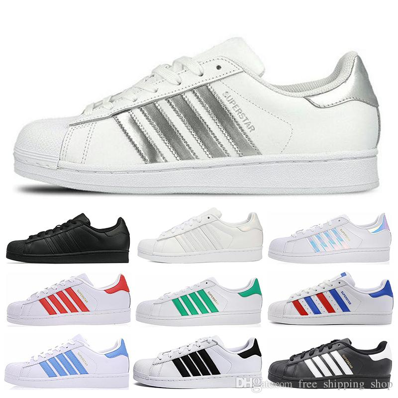 Adidas Superstar New Super Star Blanc Hologram Iridescent Junior Hommes Superstars 80 Baskets Fierté Femmes Baskets Superstar Casual Chaussures