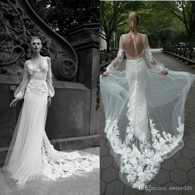 d601d1eca6d84 2019 Gorgeous Inbal Dror Sheath Wedding Dresses V Neck 3D Appliques  Illusion Backless Bridal Party Gowns