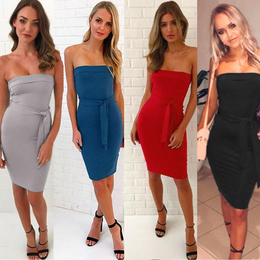 96924877b2e Women Sexy Strapless Bodycon Dress Casual Clubwear Knee Length Party Tube  Dress Strapless Backless Slim Sleeveless Dress 2019 Short Cocktail Dresses  Cotton ...