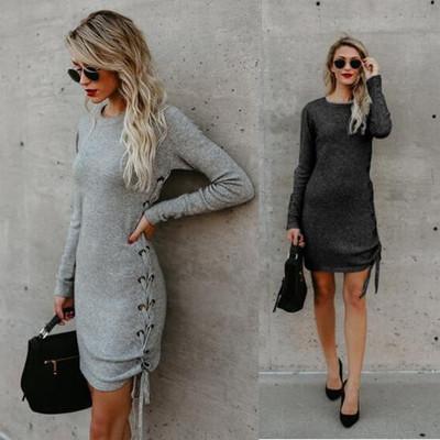 73035826485a Acquista Abiti Casual Donna Breve Abito Manica Lunga Allacciatura 2019 New  Fashion Womens Streetwear Tinta Unita Abiti Donna Abbigliamento Taglia S XL  A ...